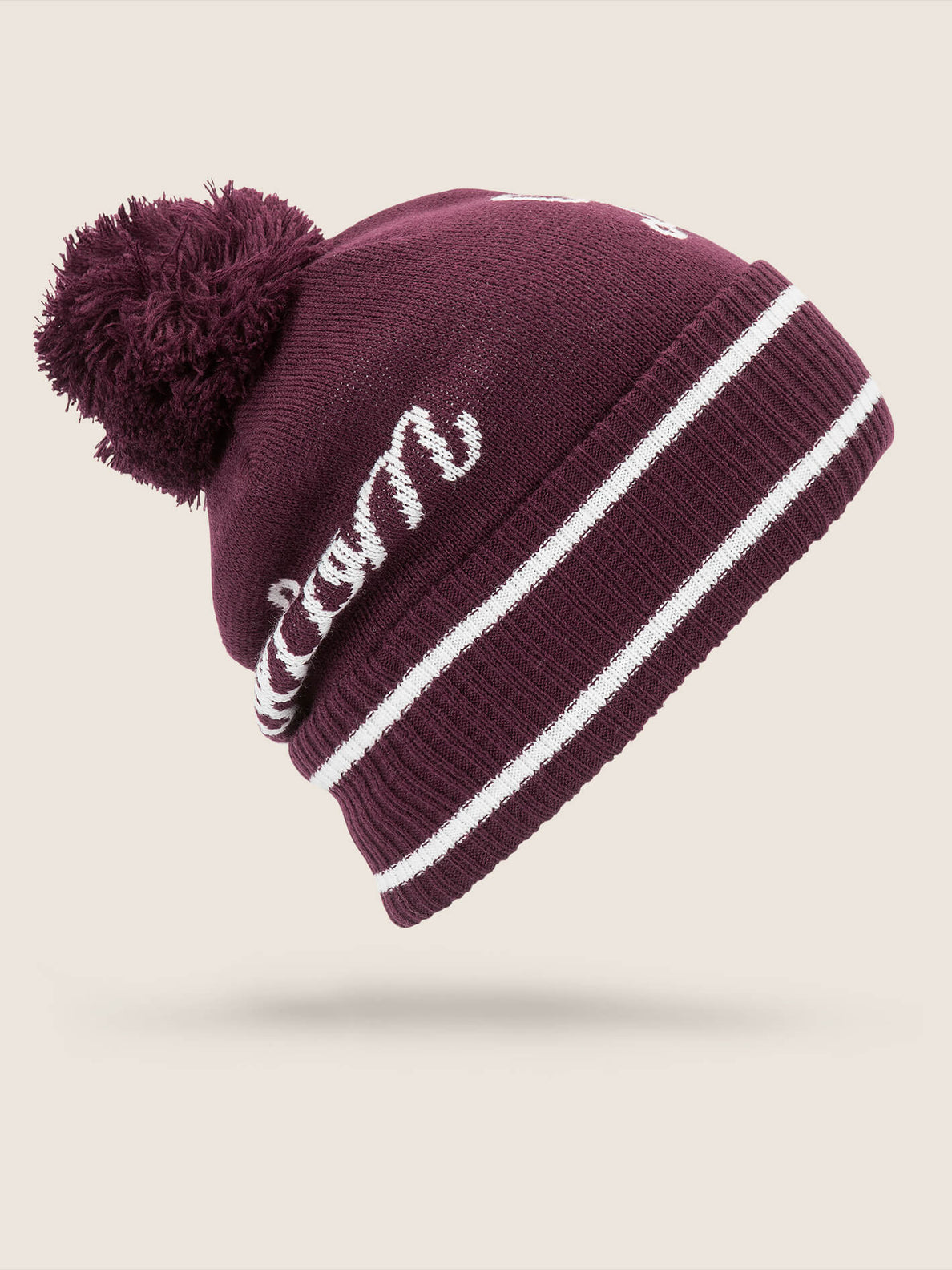 Script Beanie In Merlot, Back View