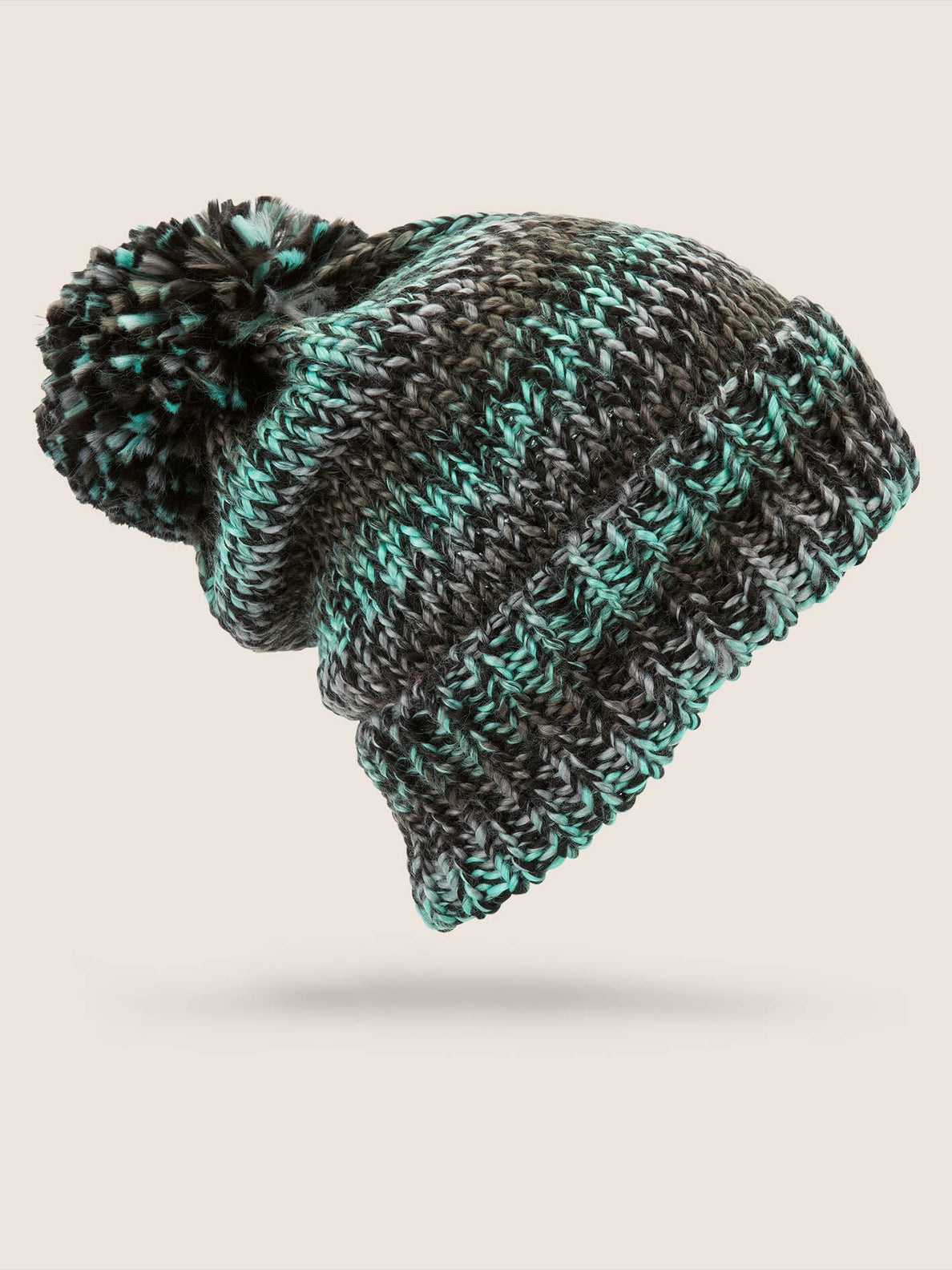 Chevron Beanie In Snow Forest, Back View
