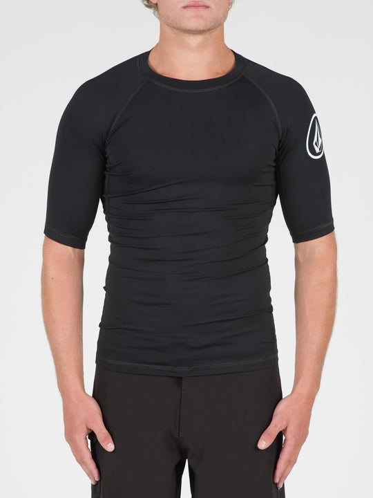 Lido Solid Short Sleeve Rashguard In Black, Front View