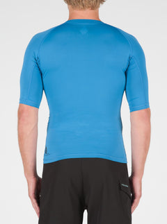 Lido Solid Short Sleeve Rashguard In Deep Water, Back View