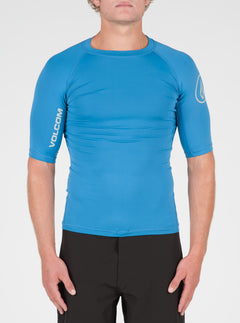 Lido Solid Short Sleeve Rashguard In Deep Water, Front View