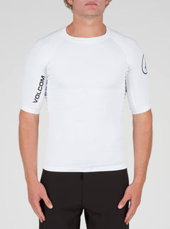 Lido Solid Short Sleeve Rashguard In White, Front View