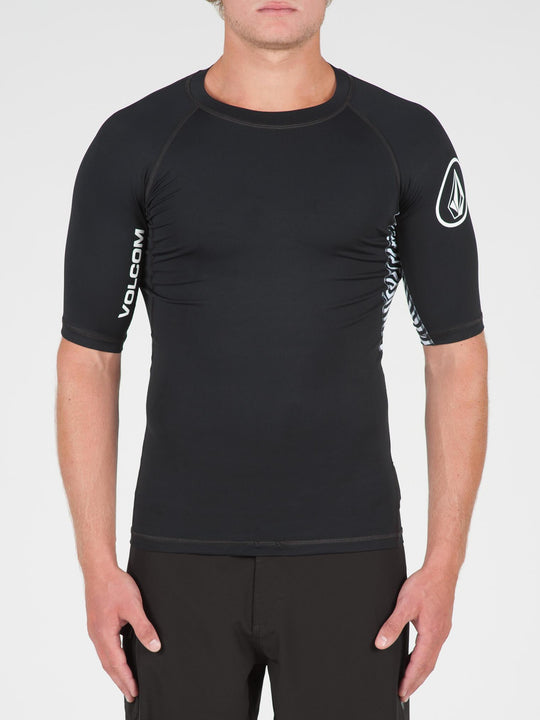 Vibes Short Sleeve Rashguard In Black, Front View