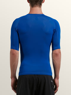 Lido Solid Short Sleeve Rashguard In Camper Blue, Back View