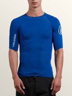 Lido Solid Short Sleeve Rashguard In Camper Blue, Front View