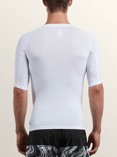 Lido Solid Short Sleeve Rashguard In White, Back View