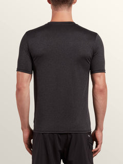 Lido Heather Short Sleeve Rashguard In Charcoal Heather, Back View
