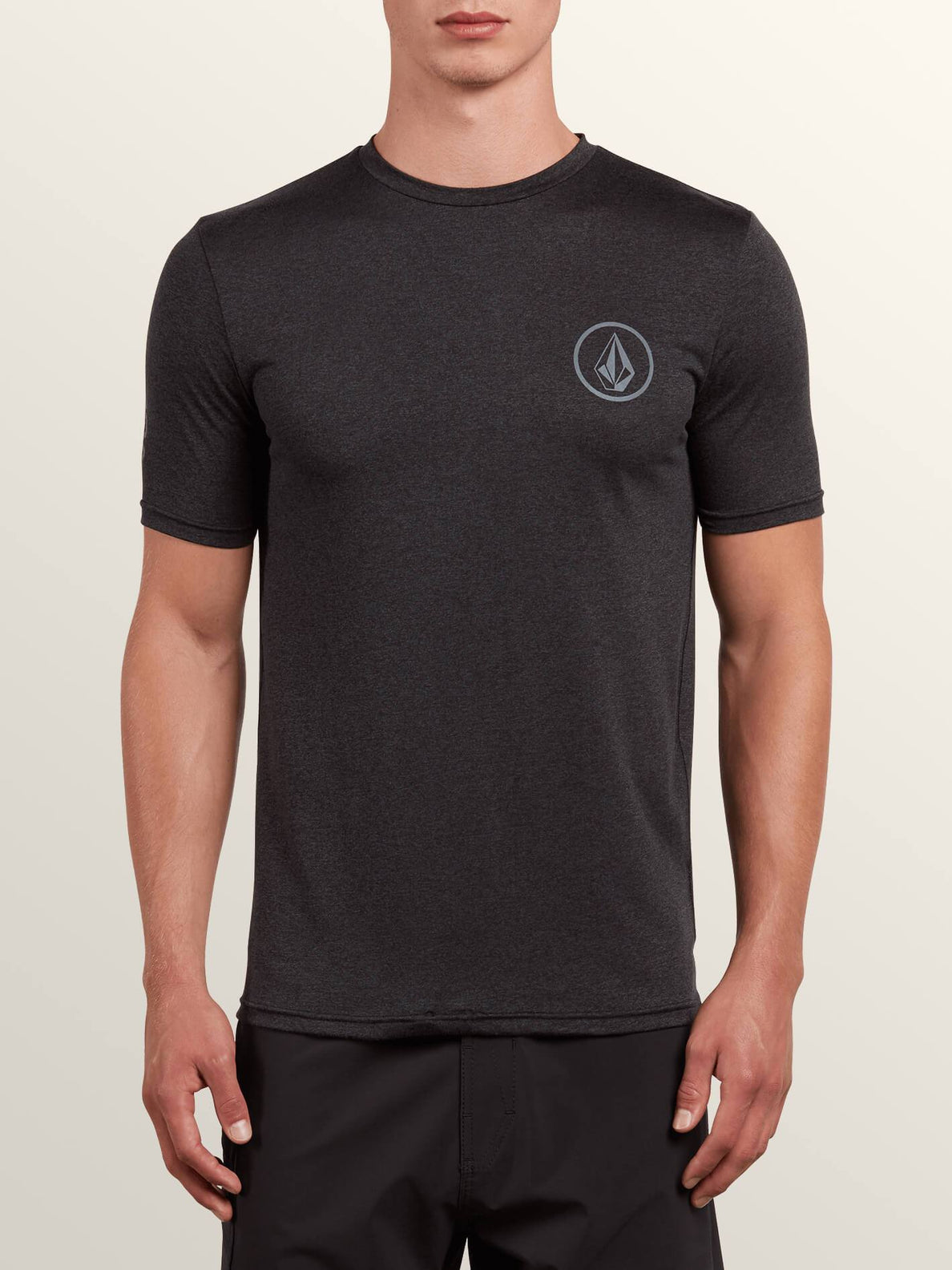 Lido Heather Short Sleeve Rashguard In Charcoal Heather, Front View