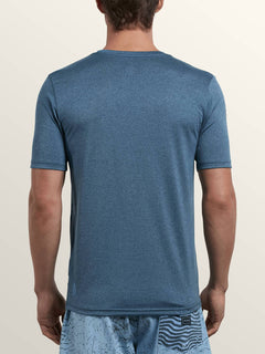 Lido Heather Short Sleeve Rashguard In Deep Blue, Back View