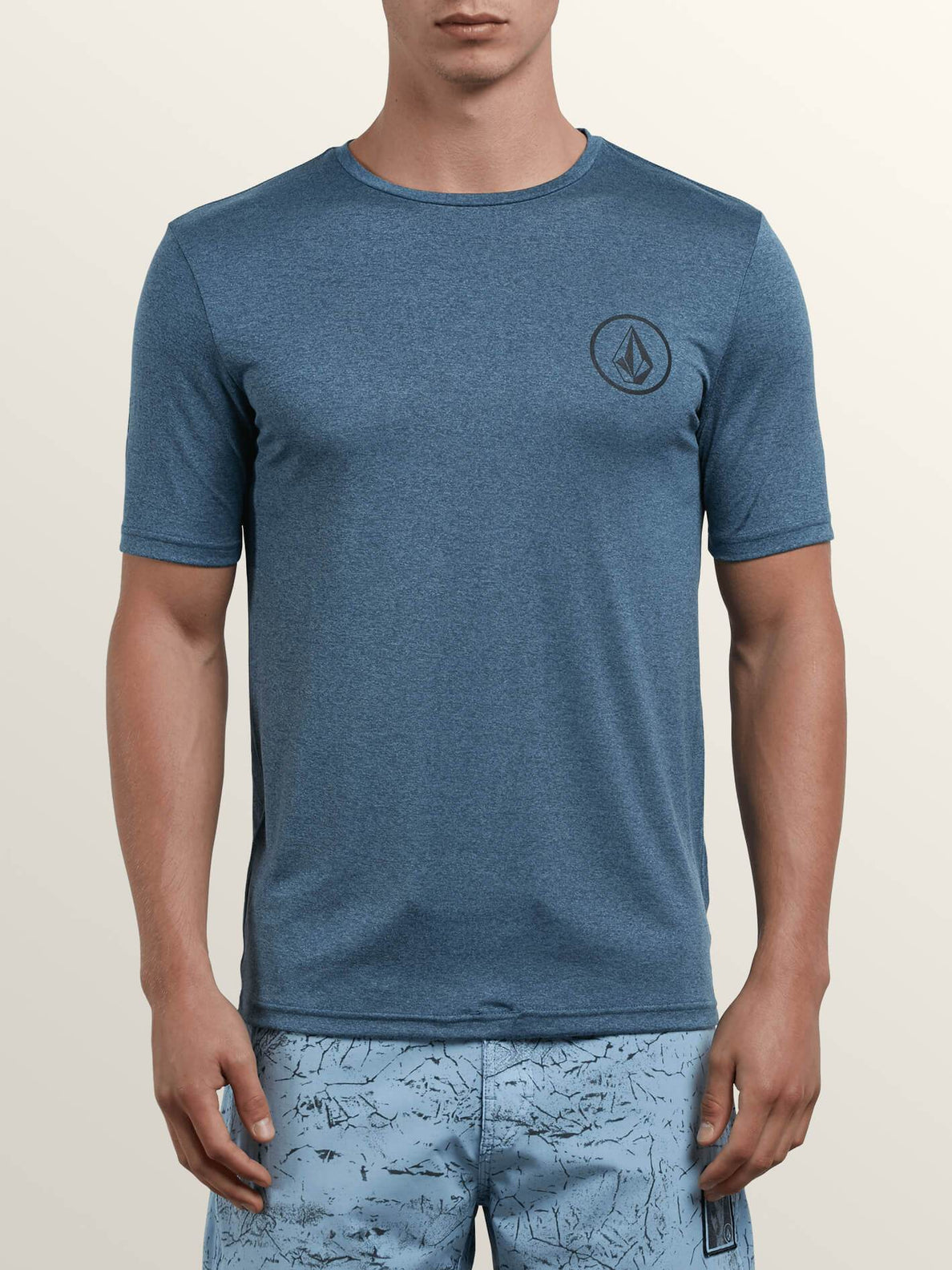Lido Heather Short Sleeve Rashguard In Deep Blue, Front View