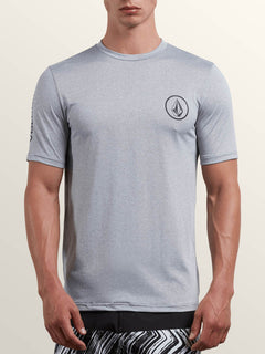 Lido Heather Short Sleeve Rashguard In Pewter, Front View
