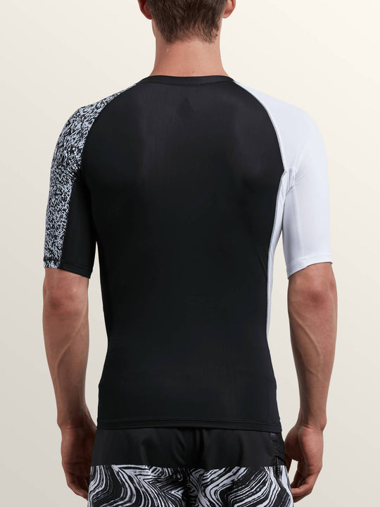 Lido Block Short Sleeve Rashguard In White, Back View