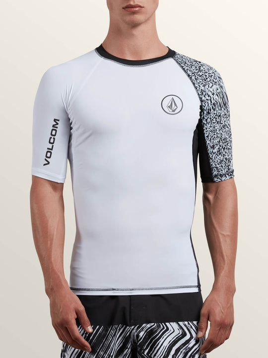 Lido Block Short Sleeve Rashguard In White, Front View