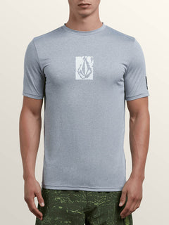 Lido Pixel Heather Short Sleeve Rashguard In Pewter, Front View
