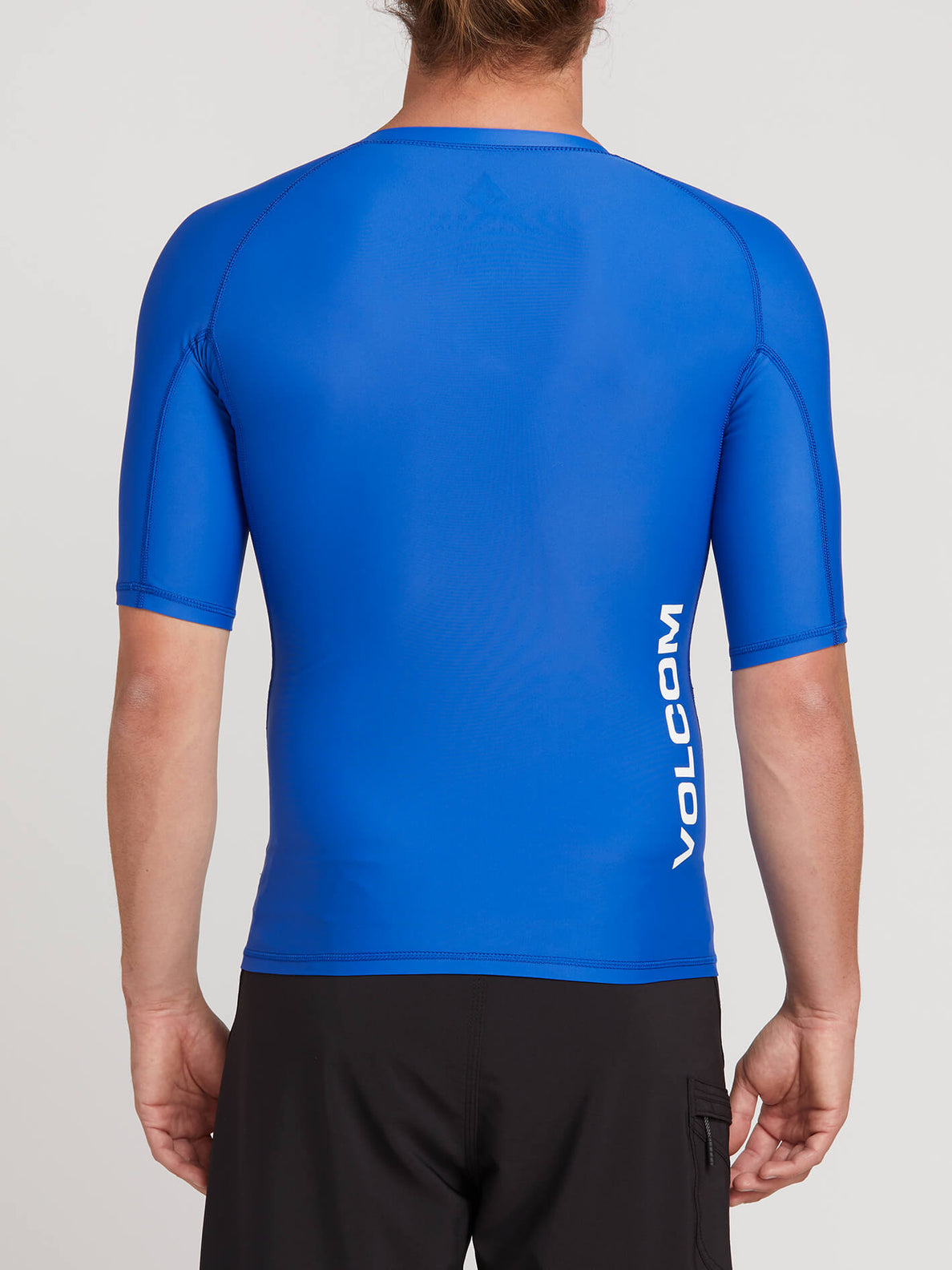 Lido Solid Short Sleeve Rashguard In Snow Royal, Back View
