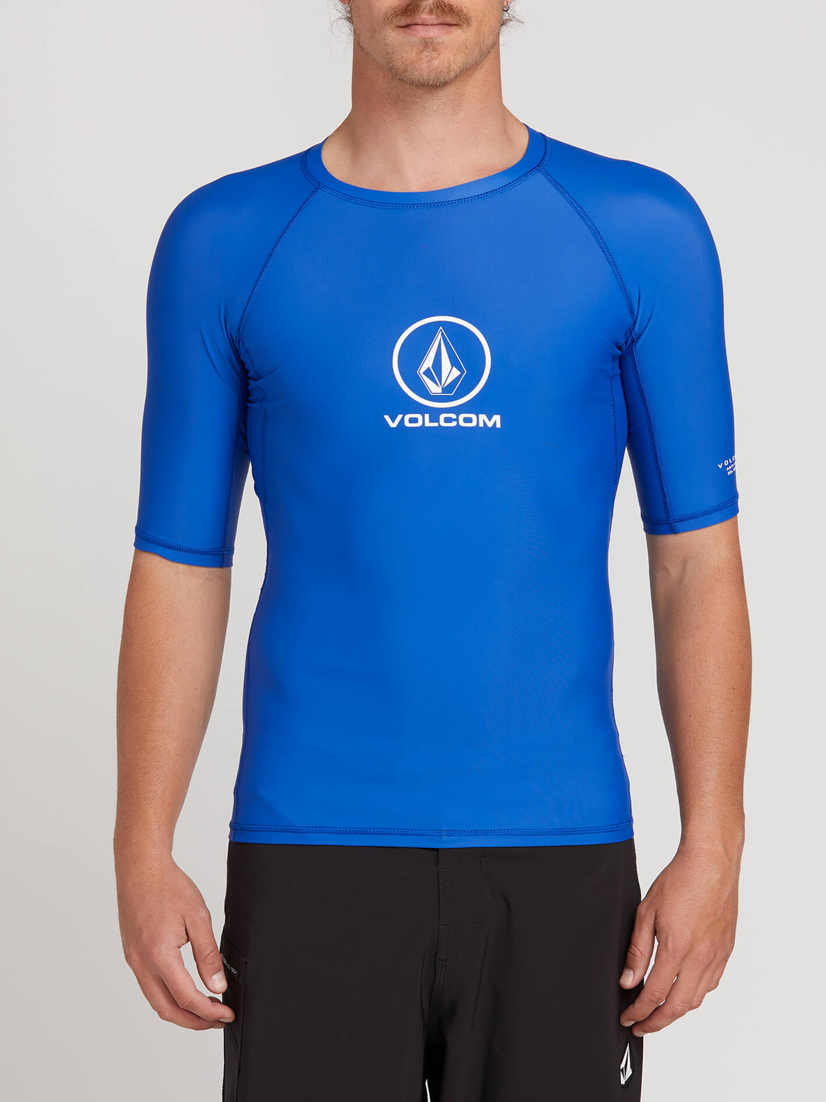 Lido Solid Short Sleeve Rashguard In Snow Royal, Front View