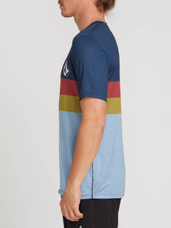 Lido Heather Block Short Sleeve Rashguard In Vintage Blue, Alternate View