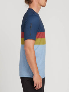Lido Heather Block Short Sleeve Rashguard In Vintage Blue, Second Alternate View