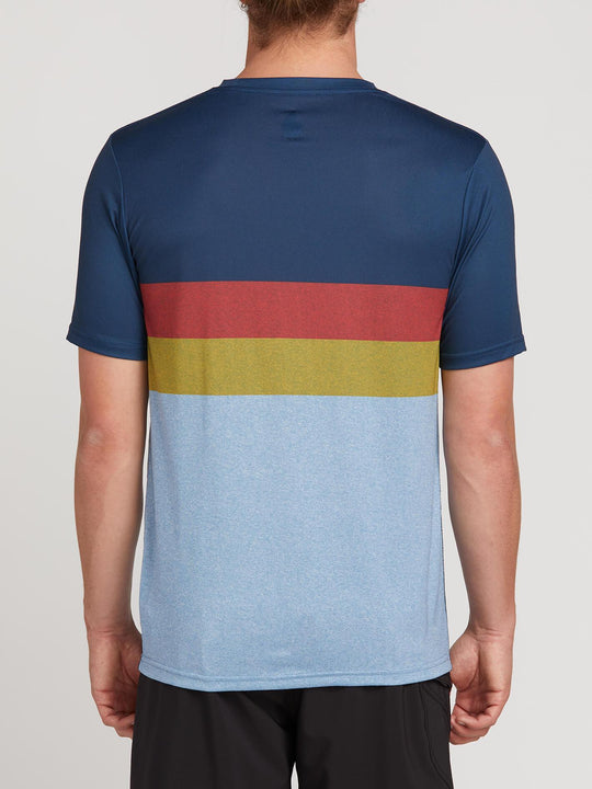 Lido Heather Block Short Sleeve Rashguard In Vintage Blue, Back View