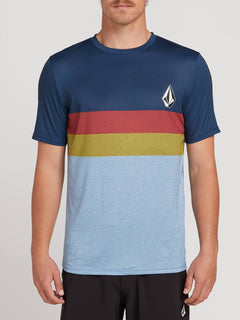 Lido Heather Block Short Sleeve Rashguard In Vintage Blue, Front View