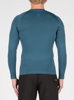 Lido Solid Long Sleeve Rashguard In Airforce Blue, Back View