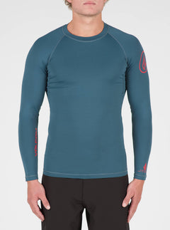 Lido Solid Long Sleeve Rashguard In Airforce Blue, Front View