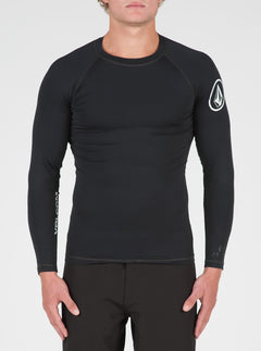 Lido Solid Long Sleeve Rashguard In Black, Front View