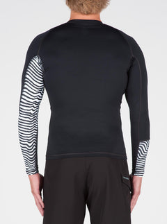 Vibes Long Sleeve Rashguard In Black, Back View
