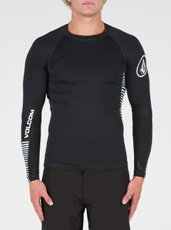 Vibes Long Sleeve Rashguard In Black, Front View