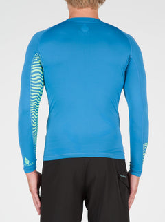 Vibes Long Sleeve Rashguard In Deep Water, Back View