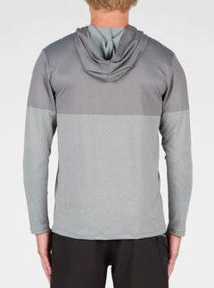 Distortion Block Long Sleeve Surf Shirt In Pewter, Back View