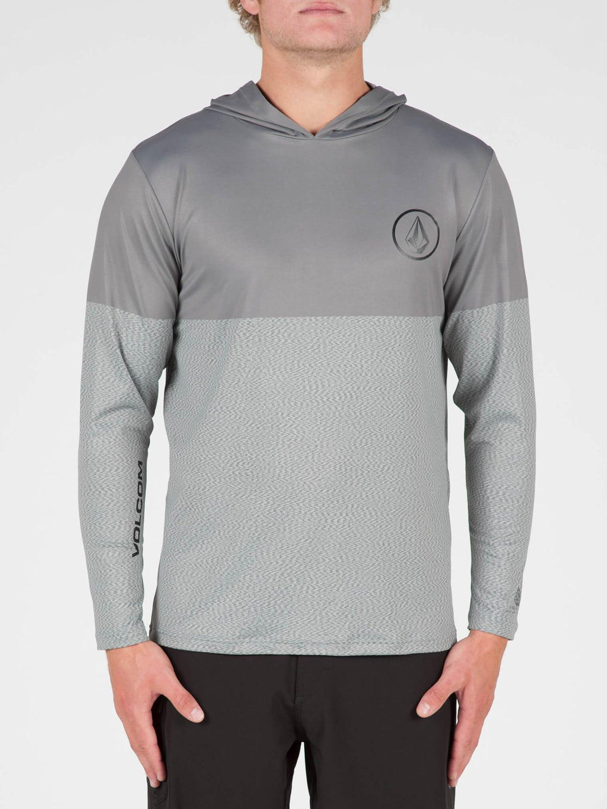 Distortion Block Long Sleeve Surf Shirt In Pewter, Front View