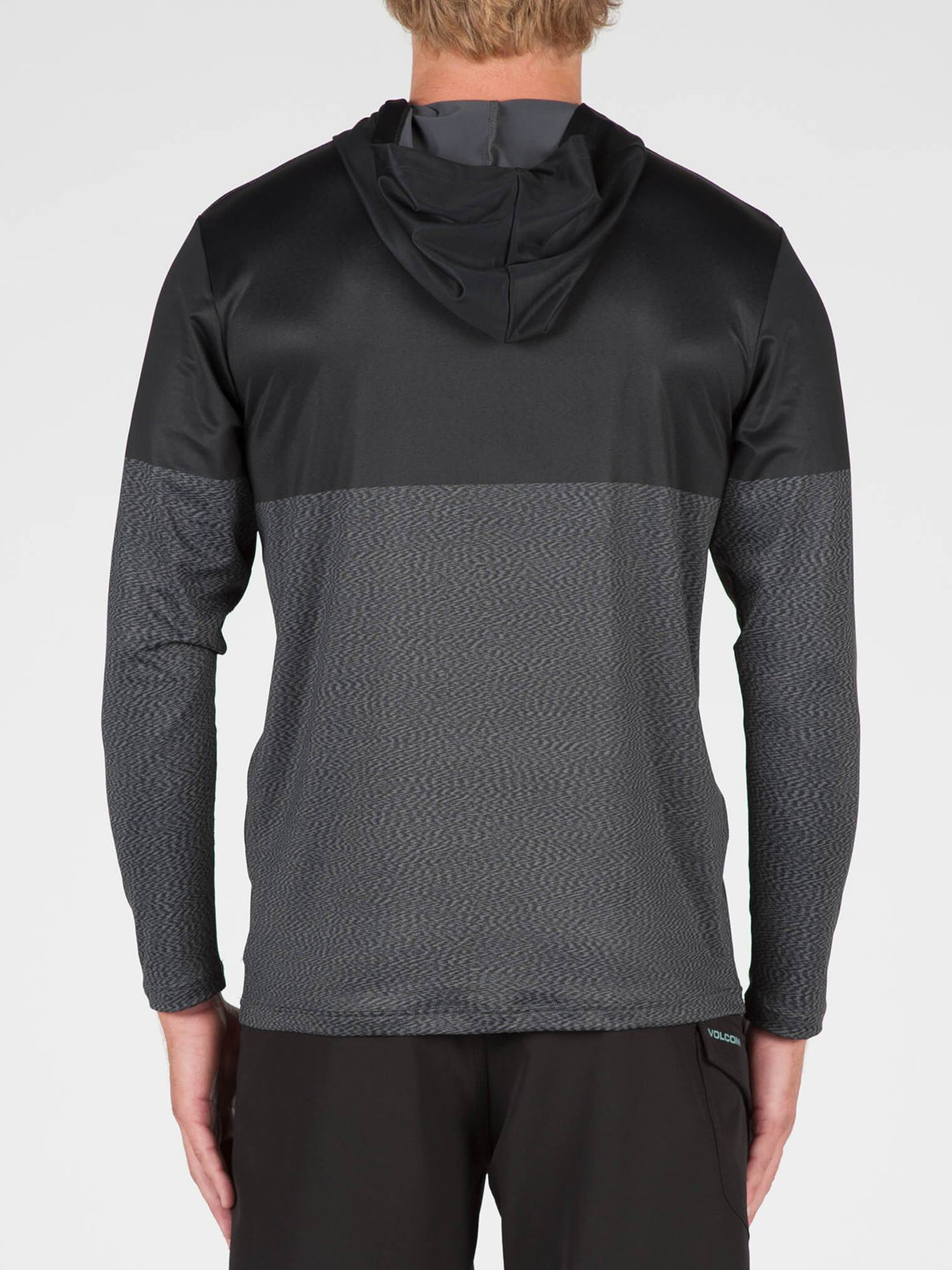 Distortion Block Long Sleeve Surf Shirt In Stealth, Back View