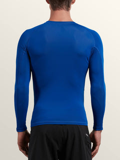 Lido Solid Long Sleeve Rashguard In Camper Blue, Back View