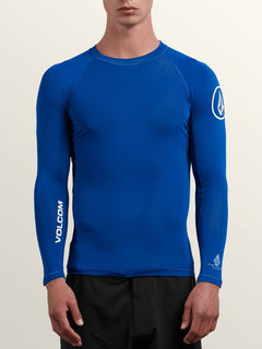 Lido Solid Long Sleeve Rashguard In Camper Blue, Front View