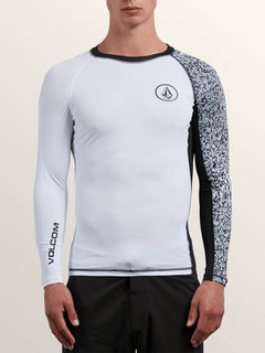 Lido Block Long Sleeve Rashguard In White, Front View