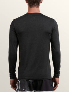 Lido Heather Long Sleeve Rashguard In Charcoal Heather, Back View