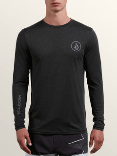 Lido Heather Long Sleeve Rashguard In Charcoal Heather, Front View
