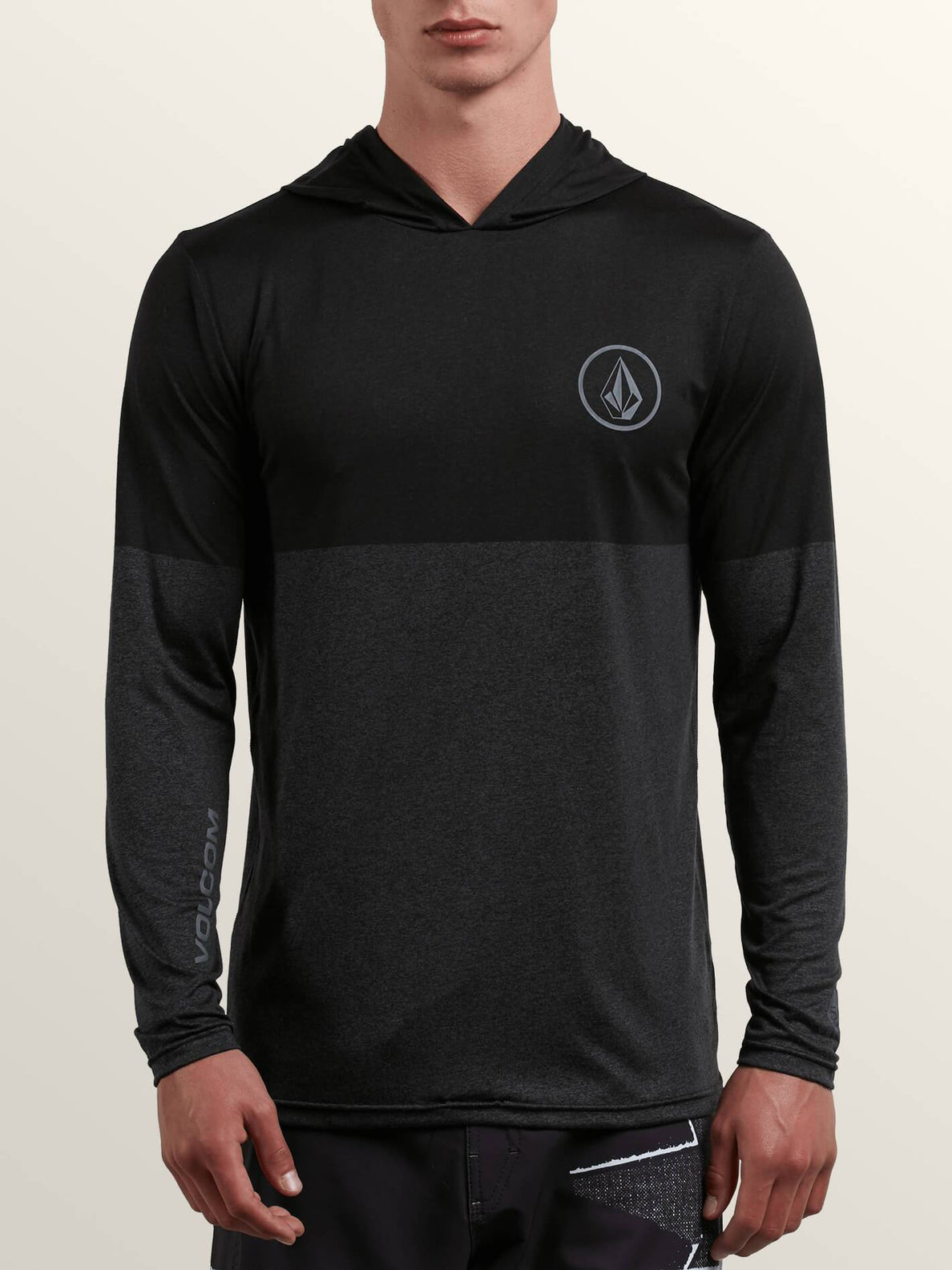 Lido Heather Block Long Sleeve Rashguard In Charcoal Heather, Front View