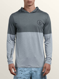 Lido Heather Block Long Sleeve Rashguard In Pewter, Front View