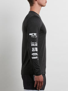 Lido Pixel Heather Long Sleeve Rashguard In Black, Second Alternate View