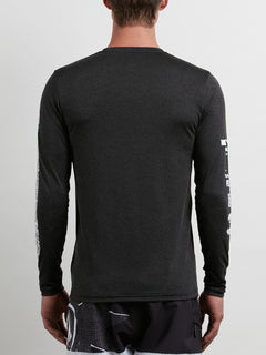 Lido Pixel Heather Long Sleeve Rashguard In Black, Back View