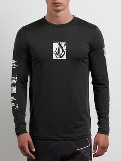 Lido Pixel Heather Long Sleeve Rashguard In Black, Front View