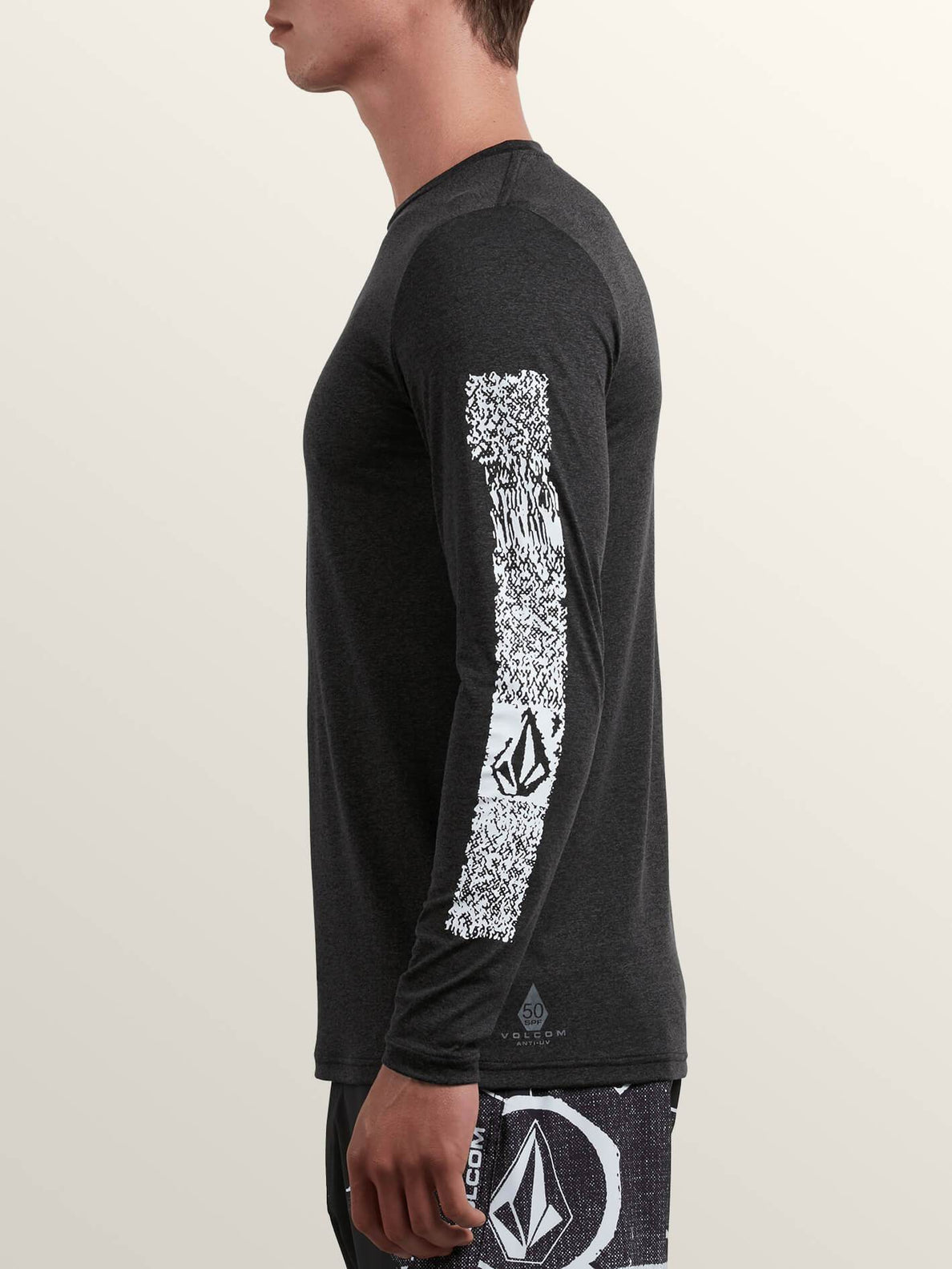 Lido Pixel Heather Long Sleeve Rashguard In Charcoal Heather, Alternate View