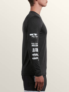 Lido Pixel Heather Long Sleeve Rashguard In Charcoal Heather, Second Alternate View
