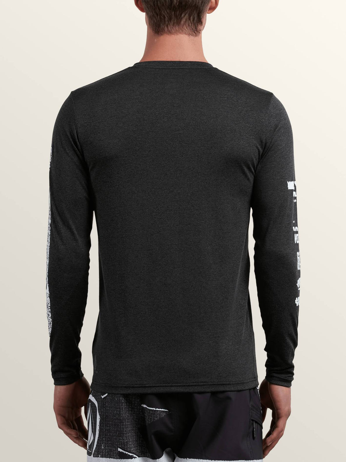 Lido Pixel Heather Long Sleeve Rashguard In Charcoal Heather, Back View