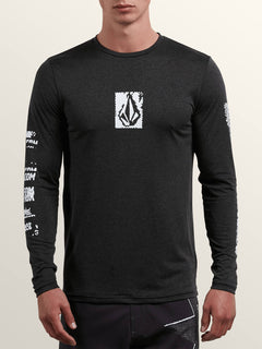Lido Pixel Heather Long Sleeve Rashguard In Charcoal Heather, Front View