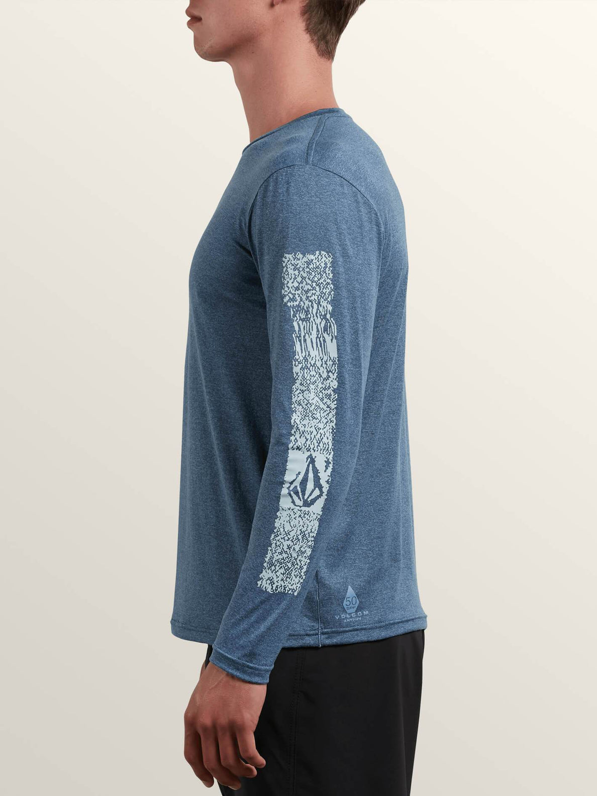 Lido Pixel Heather Long Sleeve Rashguard In Deep Blue, Alternate View