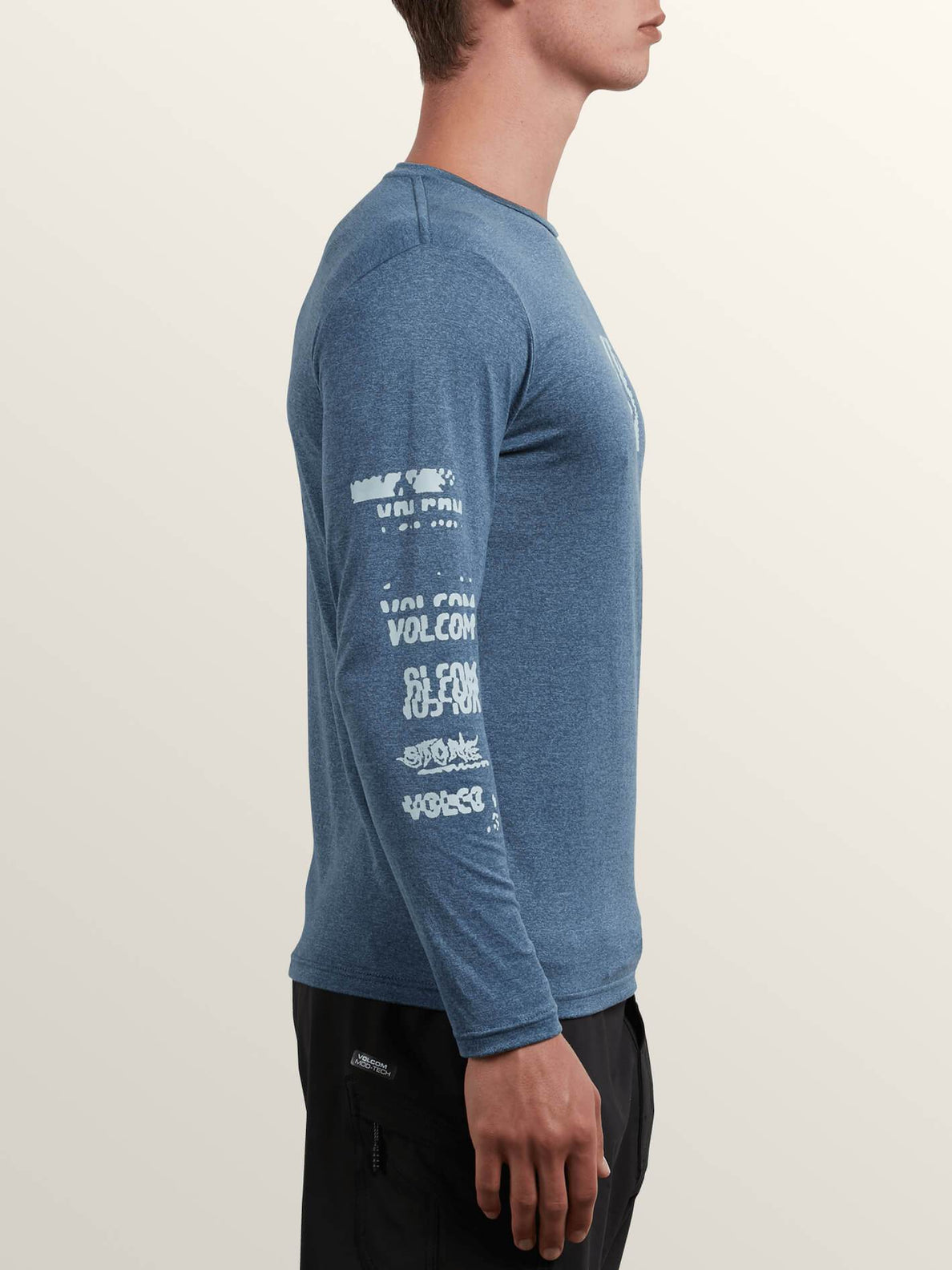 Lido Pixel Heather Long Sleeve Rashguard In Deep Blue, Second Alternate View