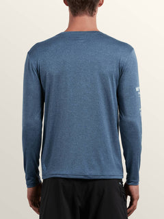 Lido Pixel Heather Long Sleeve Rashguard In Deep Blue, Back View